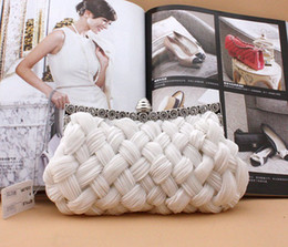 Barato Baile De Finalistas Trançado-Frete grátis New Style Fashion Unique Braid Handbag Casamento Bridal Accessory Prom Party Evening Clutch Handbag