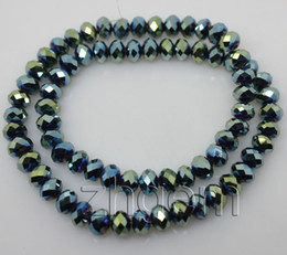 Wholesale 72 Glasses - 72 pcs quality peacock green faceted crystal glass loose beads 5*8mm 72pcs strand jewelry DIY