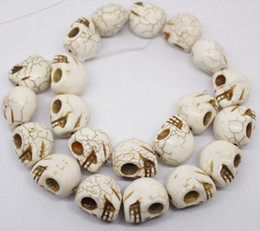 "Wholesale Turquoise Skull Pendants - 17mm*19mm carven white Turquoise skull pendant loose beads gem strand 14.5""long jewelry DIY"