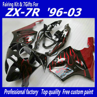 Wholesale Zx 7r - K7632 Red Flame Fairing for KAWASAKI Ninja ZX7R ZX-7R ZX 7R ZZR 750 1996 - 2003 96 97 98 99 00 01 02