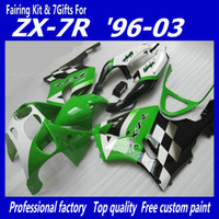 zzr carenados verde al por mayor-Kit carenado negro verde KAWASAKI Ninja ZX7R ZX-7R ZX 7R ZZR 750 1996 - 2003 96 97 98 99 00 01 02 03