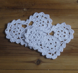 Wholesale Cotton Lace Coaster - wholesale 100% cotton hand made Shaped Heart crochet doily lace cup mat vase mat, coaster 10cm table mat customization 20PCS LOT