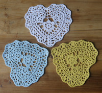 Wholesale Wholesale Heart Doilies - Wedding Crochet doily White Shaped Heart Handmade Crochet Doily Placemats ,Crocheted Doilies 16x16cm cup mat 20PCS  LOT