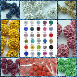 Wholesale Clay Pave Beads - Mix Colors 1200PCS* Free shipping 10mm Shamballa Clay Crystal Rhinestone Pave Round Disco Ball Beads