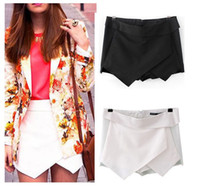 Wholesale Skirt Women Asymmetric - Fashion Women Asymmetric Tiered Culottes Shorts Skirt With Invisible Zipper Bloggers