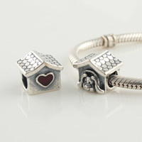 Wholesale European Bead Sterling Core - 925 Sterling Silver Screw Core Red Enamel Doghouse Bead Fits European Pandora Jewelry Charm Bracelets Necklaces & Pendants