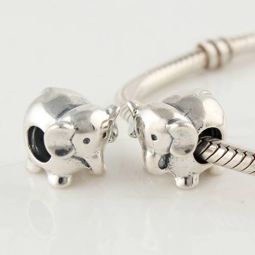 925 Sterling Silver Screw Núcleo Animais Elefante Charme Talão Serve Para Pandora Europeu Jóias Pulseiras Colares Pingentes