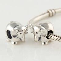 perlas de núcleo de tornillo al por mayor-925 Sterling Silver Screw Core Animal Elephant Charm Bead Se adapta a Pandora Europea Joyería Pulseras Collares Colgantes