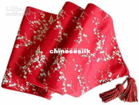 Wholesale Damask Runners - High End 120 inch Extra Long Luxury Feast Table Runners Damask Cherry blossoms Decorative Table Cloths multicolor option