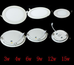 Wholesale 12 led downlight - 12 Piece Ceiling Light Lamp 100% 3w 4w 6w 9w 12w 15w 18w Round Panel Light Warm White LED kitchen light Led Recessed Downlight Bulbs by DHL