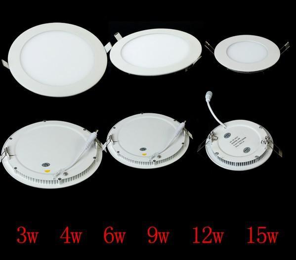 Lámpara de luz de techo de 12 piezas 100% 3w 4w 6w 9w 12w 15w 18w 18w Luz de panel redonda Luz de cocina LED caliente / blanca Led bombillas empotrables empotradas de DHL