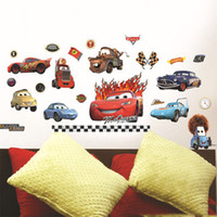 Wholesale Race Car Room Decor - Racing Cars Wall Sticker Cars Lightning McQueen Cartoon Wall Decor Children's Living room Wall Decal