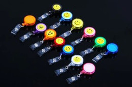 Wholesale Round Plastic Key Tags - Free shipping 4pcs lot smilling face ID holder name tag card key Badge Reels Round Solid Plastic Clip-On Retractable pull Reel