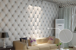Wholesale Lit Sofa - free shipping Three-dimensional faux leather soft bag wallpaper white bedside sofa tv background wall wallpaper