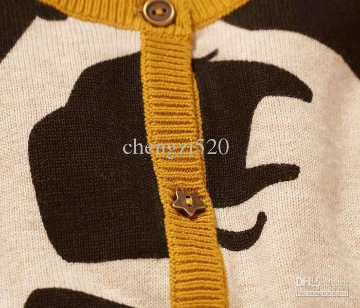 2013 chaquetas de manga larga de la muchacha rinoceronte jirafa de punto cardigan ropa para niños