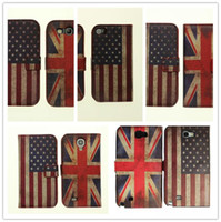 Wholesale Iphone 4s Retro Usa - PU Leather Folio with Stand Style Retro USA UK Flag Wallet Cover Case for iPhone 5, iPhone 4 4S,Samsung S4 i9500, Galaxy S3