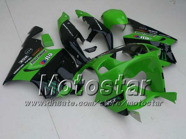 Green+Black ABS Plastic Fairing kit for KAWASAKI Ninja ZX7R 1996 - 2003ZX 7R ZZR 750 96 97 98 99 00