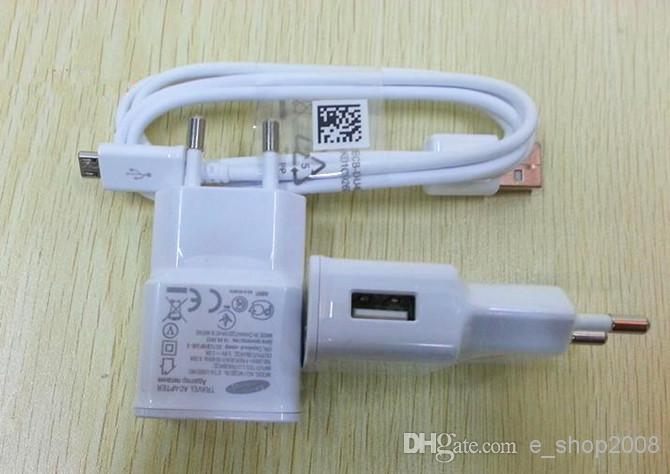 AB ABD Duvar Şarj Güç Tak + Mikro USB Kablosu Samsung Galaxy S4 i9500 S3 i9300 için Note2 N7100 2 in 1 Siyah Beyaz renk