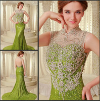 Wholesale Brooch Cheapest - Cheapest dress 2016 NEW Sexy Gorgeous Crystal Evening Dresses Beaded luxurious backless Prom Dresses paolo sebastian