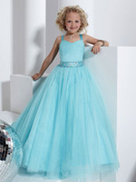 Sweet Blue Tulle Straps Beads Girl's Vestidos del desfile Flower Girls 'Dresses Girls' Formal Dress Holiday Dresses Custom SZ 2-12 DF705160