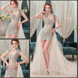 Wholesale Organza High Low Prom Dress - Glamorous 2013 New Sexy crystal pageant dresses beaded luxurious backless unique hi-low Prom Dresses
