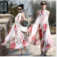 Wholesale Sexy Dress Expansion - 2016 Bohemian Summer Dress Fashion women dress Sleeveless flowers printed chiffon dress expansion maxi dress sexy ladies dress