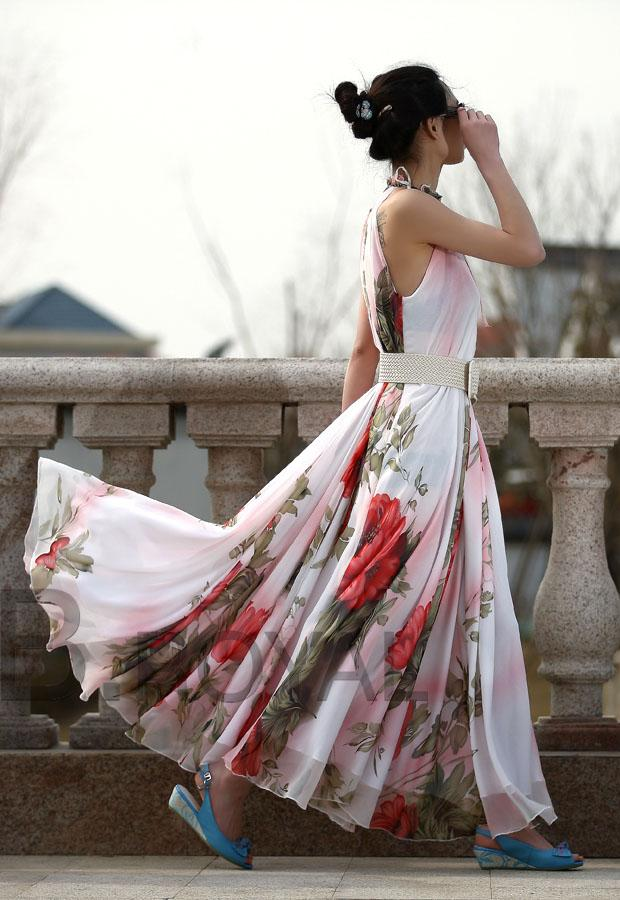 2016 Bohemian Summer Dress Fashion Frauen Kleid Sleeveless Blumen gedruckt Chiffon Kleid Expansion Maxi Kleid sexy Damen Kleid
