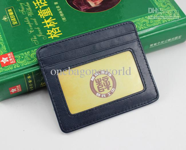 2017New Mens Fashion Classic Design Casual Credit Card ID Holder Real Leather Ultra Slim Thin Wallet Packet Bag Mans Womans High Quality