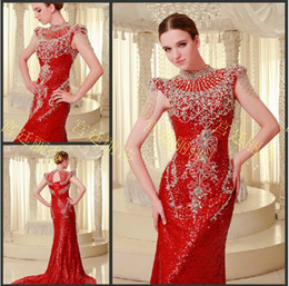 Wholesale Yellow Glamorous Evening Dresses - Glamorous 2013 New Sexy evening gowns beaded crystal unique high collar amazing Prom Dresses