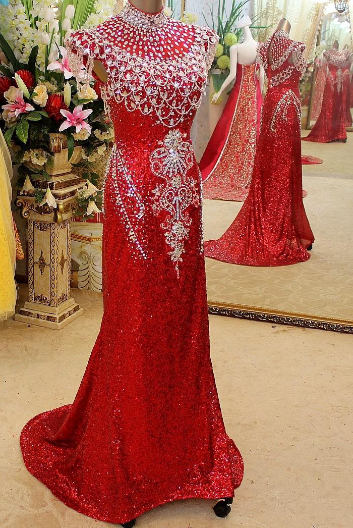 Glamorous 2019 New Sexy abiti da sera perline di cristallo unico alto colletto stupefacente Prom Dresses