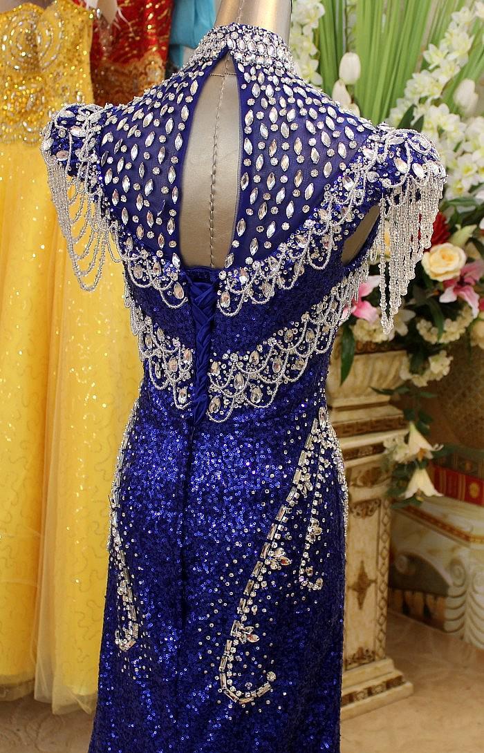 Glamour 2019 nouvelles robes de soirée sexy en cristal perlé unique col haut robes de bal étonnantes