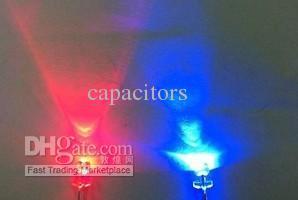 200 stks / partij 3mm LED's, rood / blauwe kleur, water helder, niet-polariteit bicolor LED, gratis verzending
