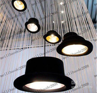 Wholesale Drop Pendant Lighting - Via EMS   PARCEL FORCE Appro 26*17cm Novelty And Fashion Droplight E27 Hat Style Drop Light Pendant Lamp Lighting Chandelier Black MYY753