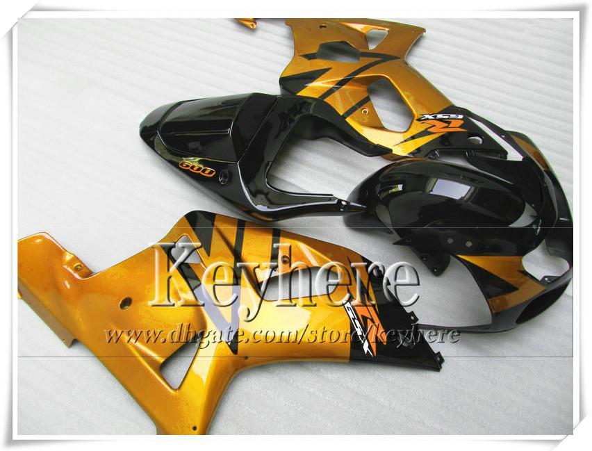 Kit de carenado de carrera personalizado 7 regalos gratis para SUZUKI GSXR600 01 02 03 GSX R600 R750 2001 2002 2003 GSXR 600 750 K1 carenados r1a cuerpo de oro negro