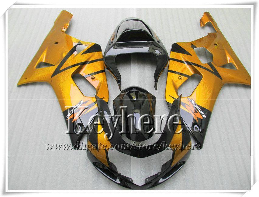 Kit carenatura custom da 7 regali SUZUKI GSXR600 01 02 03 GSX R600 R750 2001 2002 2003 Carene GSXR 600 750 K1 corpo nero dorato r1a