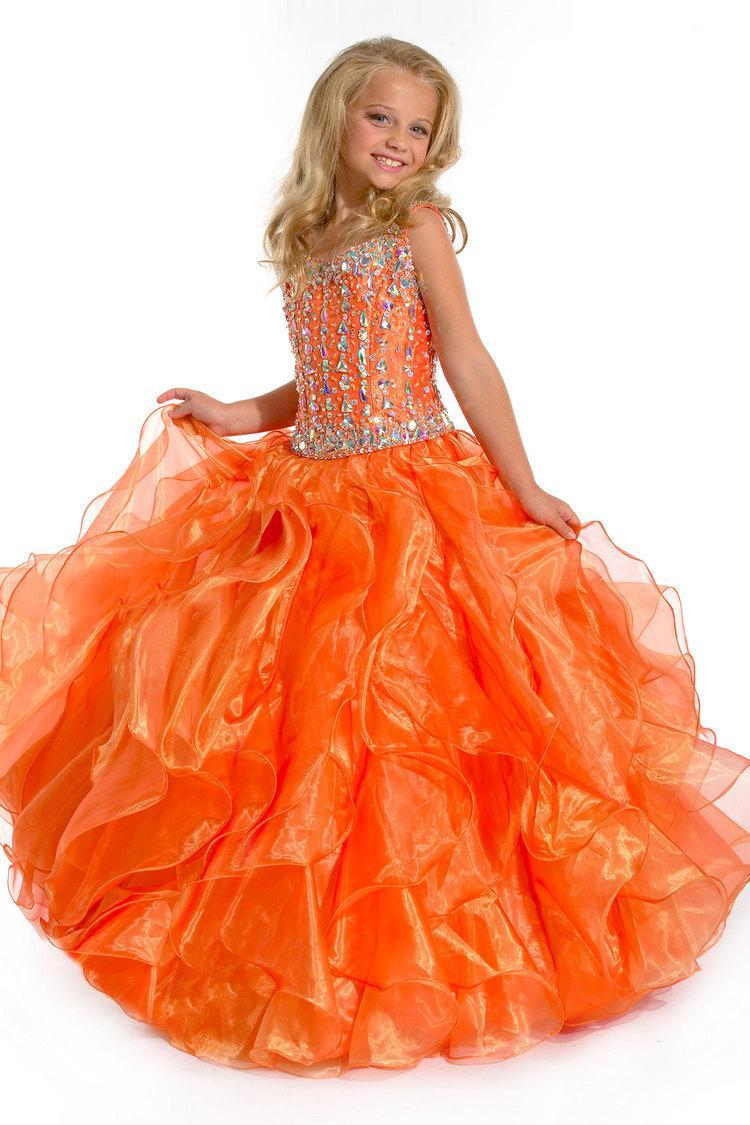 Para venda! Moda cor de laranja crianças até o chão longo organza frisada praça vestidos menina pageant ZFD-026