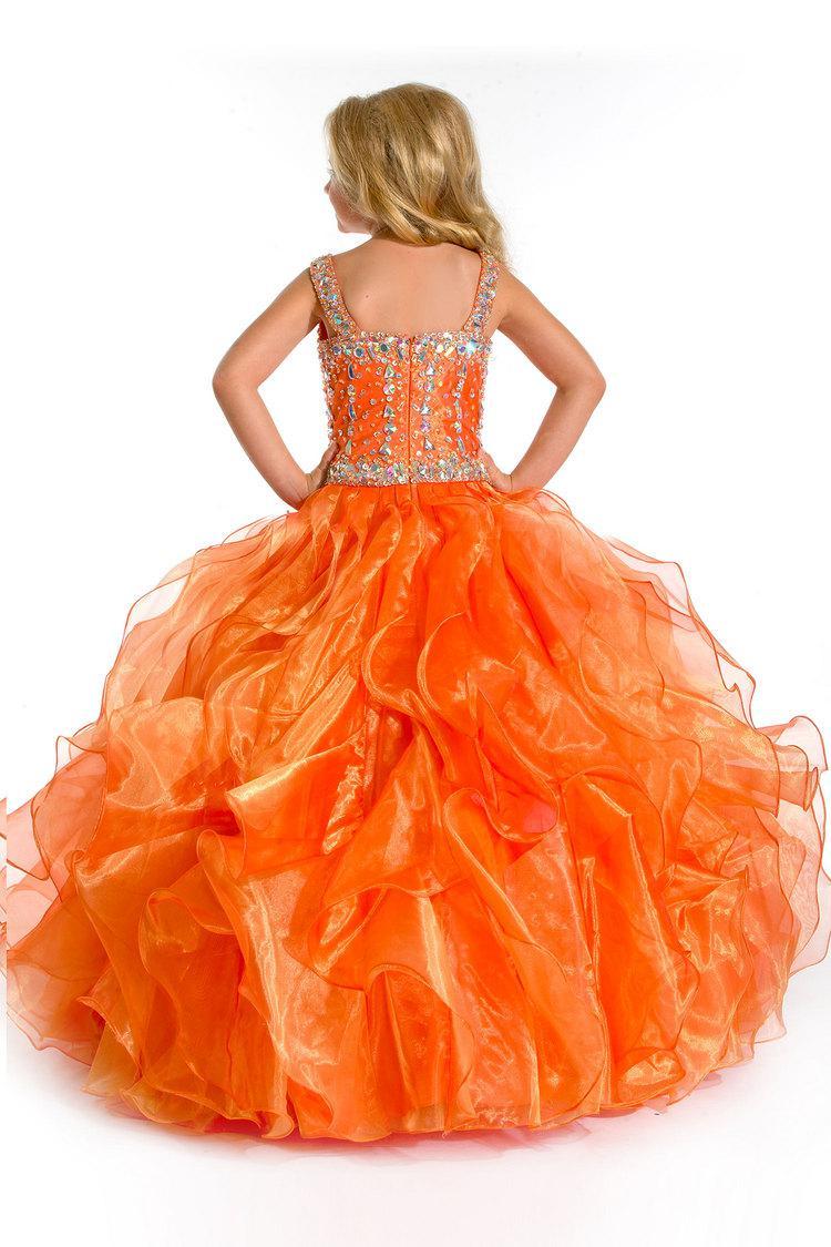 ¡Para la venta! Moda color naranja niños longitud del piso largo de organza con cuentas cuadrados vestidos de desfile de niña ZFD-026