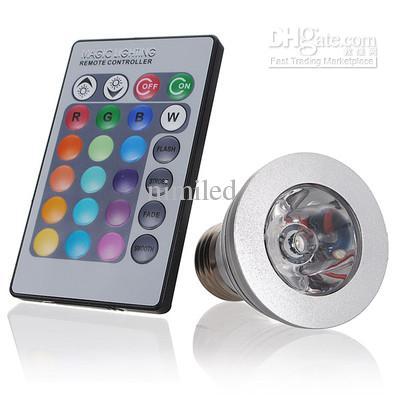 3W RGB Lâmpada 16 Lâmpada de mudança de cor com controle remoto LED holofotes RGB global LED luz -NIMILED