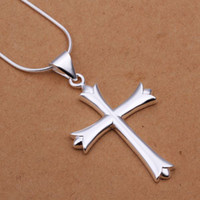 Wholesale Gorgeous Cross Necklace - pretty Lady 925 SILVER Christmas gift fashion Retro Classic Gorgeous Noble Cross chain pendant Beautiful jewelry N290