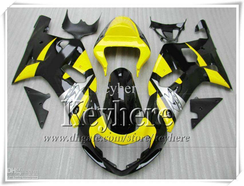 Kit de carenado gratuito 7 regalos para SUZUKI GSXR600 01 02 03 GSX R600 R750 2001 2002 2003 GSXR 600 750 K1 carenados r9d amarillo negro plateado carrocería