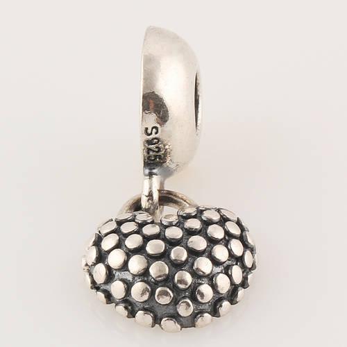 Un morceau authentique en argent sterling 925 de ma mère, son cœur, un pendentif avec une perle en émail bleu, convient au bracelet à breloques européen Pandora