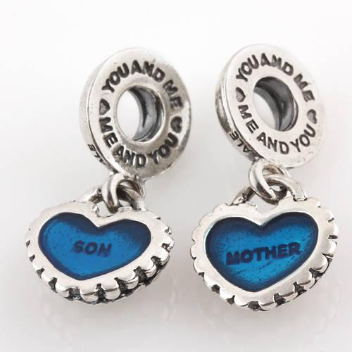 2017 authentic 925 sterling silver piece of my heart mother son dangle pendant bead with blue