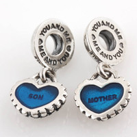 pandora parçaları toptan satış-Otantik 925 Ayar Gümüş Adet Benim Kalp Anne Oğul Dangle Kolye Boncuk Mavi Emaye Avrupa Pandora Charm Bilezik Uyar