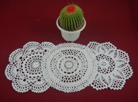 Wholesale crochet round cloths - wholesale 100% cotton hand made crochet doily table cloth 3 designs 11 colors custom cup mat round 20-21cm crochet applique 30PCS LOT tmh304