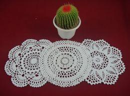 $enCountryForm.capitalKeyWord NZ - wholesale 100% cotton hand made crochet doily table cloth 3 designs 11 colors custom cup mat round 20-21cm crochet applique 30PCS LOT tmh304