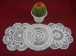 Wholesale Crochet Design Mats - wholesale 100% cotton hand made crochet doily table cloth 3 designs 11 colors custom cup mat round 20-21cm crochet applique 30PCS LOT tmh304