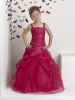 Petty Fuchsia Taffeta Straps Beads Flower Girls' Dresse...