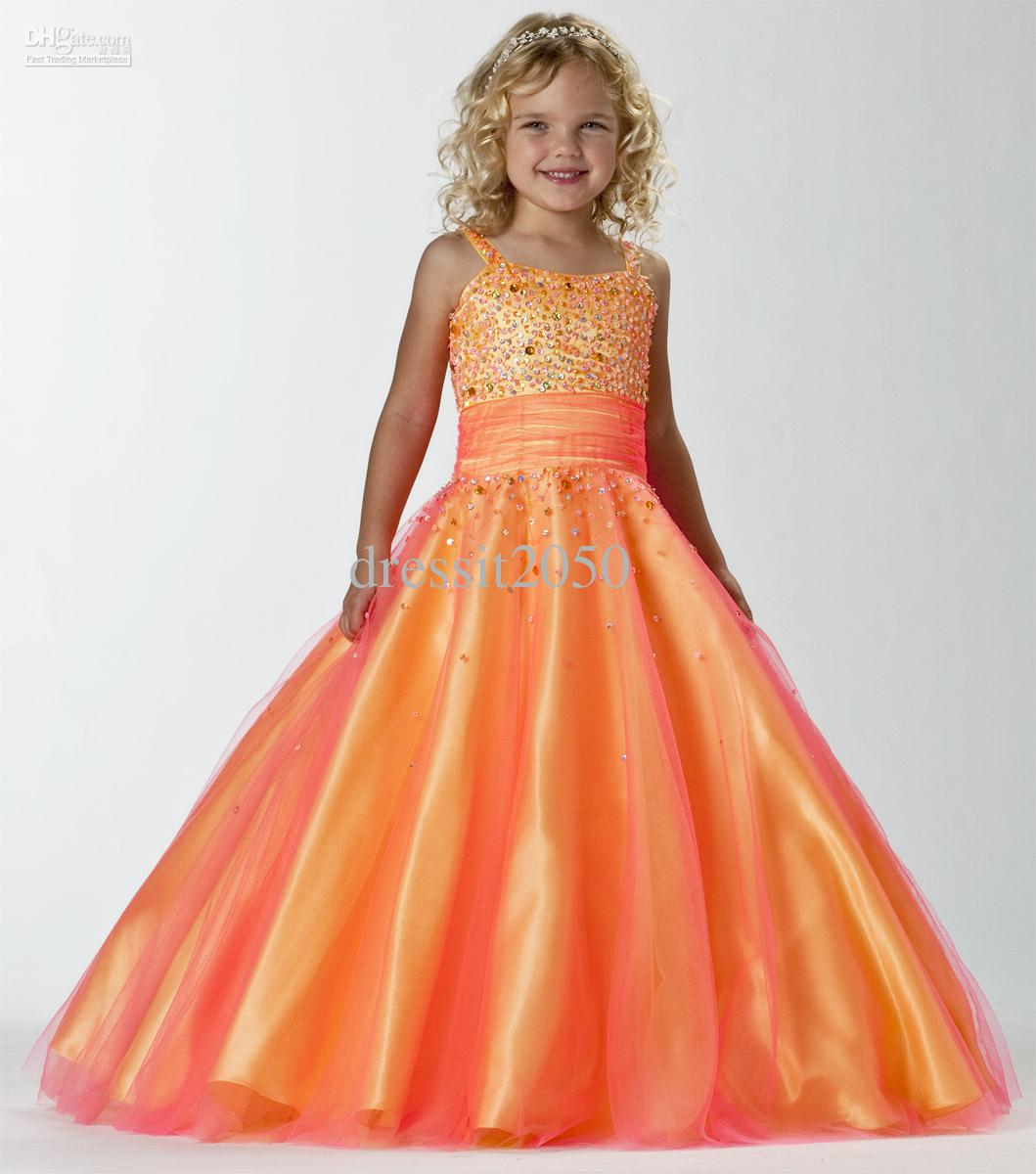 Lovely Orange Blue Straps Tulle Beads Flower Girl Dresses Girls' Pageant Dresses Holiday/Birthday Dress Custom Size 2-14 DF720537