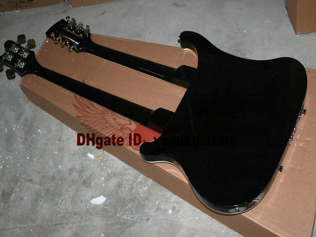 Black Double Neck 4 cordas guitarra baixo elétrico e 12 cordas de guitarra elétrica A12