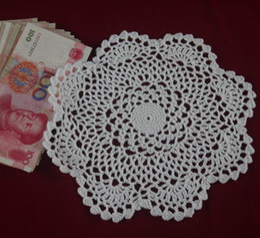 $enCountryForm.capitalKeyWord Canada - wholesale 100% cotton hand made crochet doily, lace cup mat vase mat coaster 22x22cm table mat customization 12PCS LOT